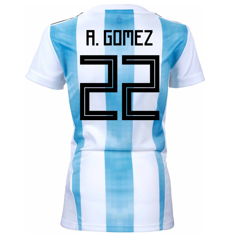 Argentina Official Women s Home Soccer Jersey World Cup Russia 2018 A.  Gomez  22 61a4c1fd92