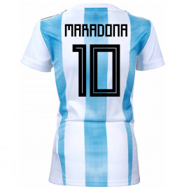 9ebead1c2 Argentina Official Women s Home Soccer Jersey World Cup Russia 2018 Maradona   10