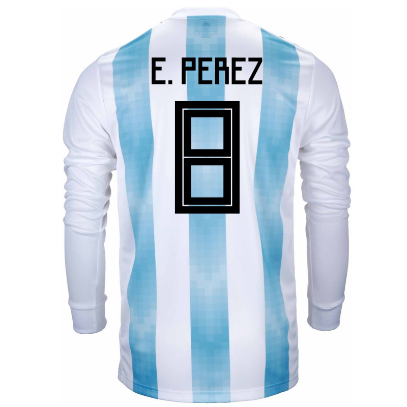 afcd6210220 Argentina Official Men s Long Sleeve Home Soccer Jersey World Cup Russia  2018 E. Perez