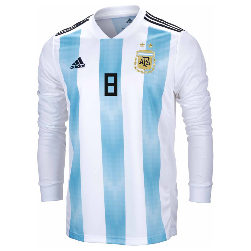 1aabc057594 ... Argentina Official Men s Long Sleeve Home Soccer Jersey World Cup  Russia 2018 E. Perez