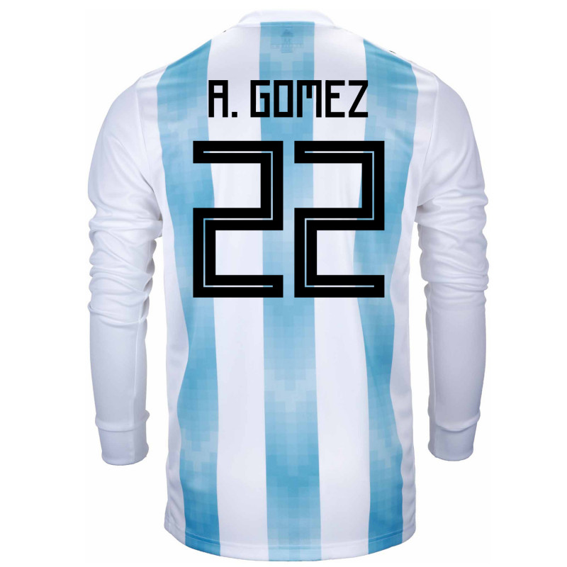 Argentina Official Men s Long Sleeve Home Soccer Jersey World Cup Russia  2018 A. Gomez   4aecb8032