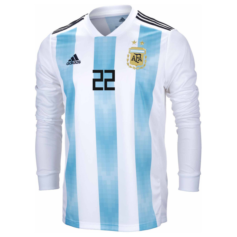 ... Argentina Official Men s Long Sleeve Home Soccer Jersey World Cup  Russia 2018 A. Gomez   17c488b15