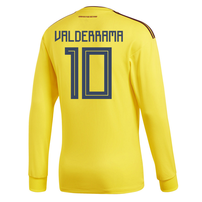 9e238df7026 Colombia Official Men's Home Long Sleeve Soccer Jersey World Cup Russia  2018 Valderrama #10
