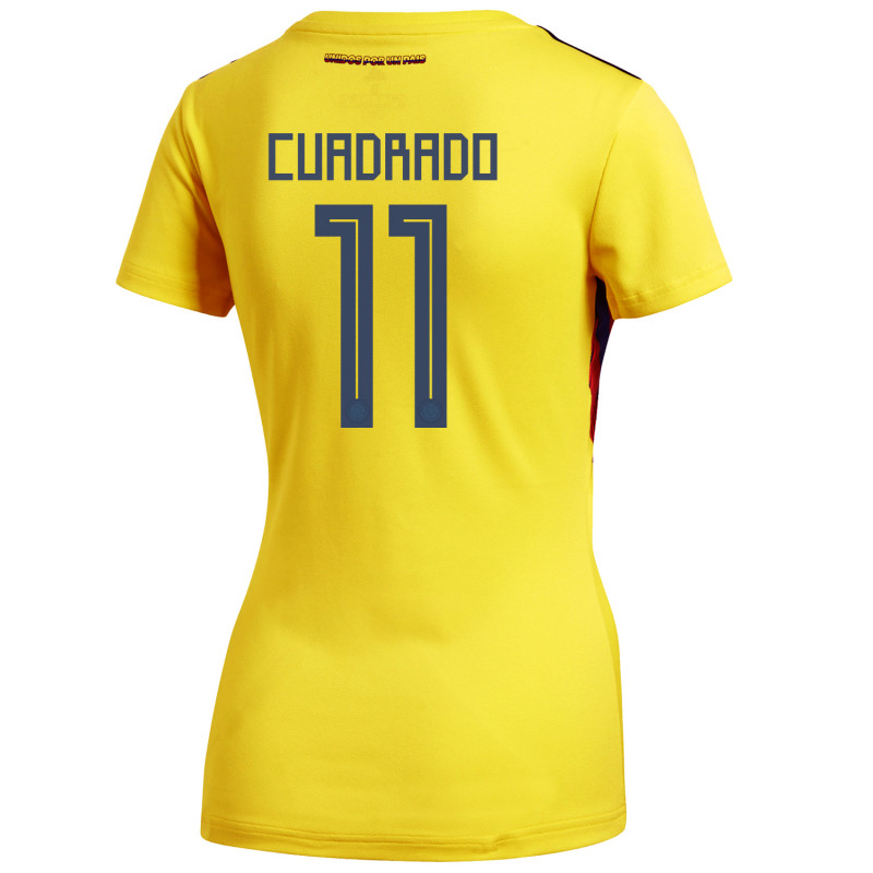 e506be68d Colombia Official Women's Home Soccer Jersey World Cup Russia 2018 Cuadrado  #11