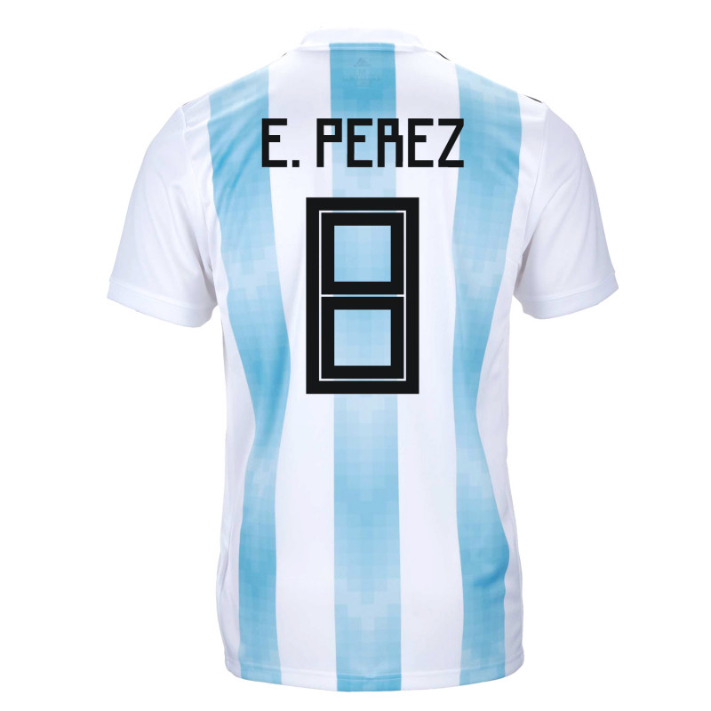 2deb41d549f ARGENTINA OFFICIAL MEN'S HOME SOCCER JERSEY WORLD CUP RUSSIA 2018 E. PEREZ  #8