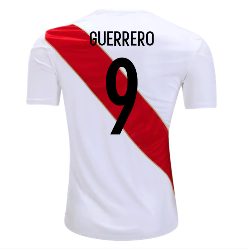 b0c0031aad9 PERU OFFICIAL MEN'S HOME SOCCER JERSEY WORLD CUP RUSSIA 2018 GUERRERO #9