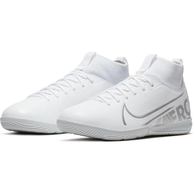 Nike Jr. Mercurial Superfly 7 Academy IC Kids' Indoor/Court Soccer Shoe- White/Silver