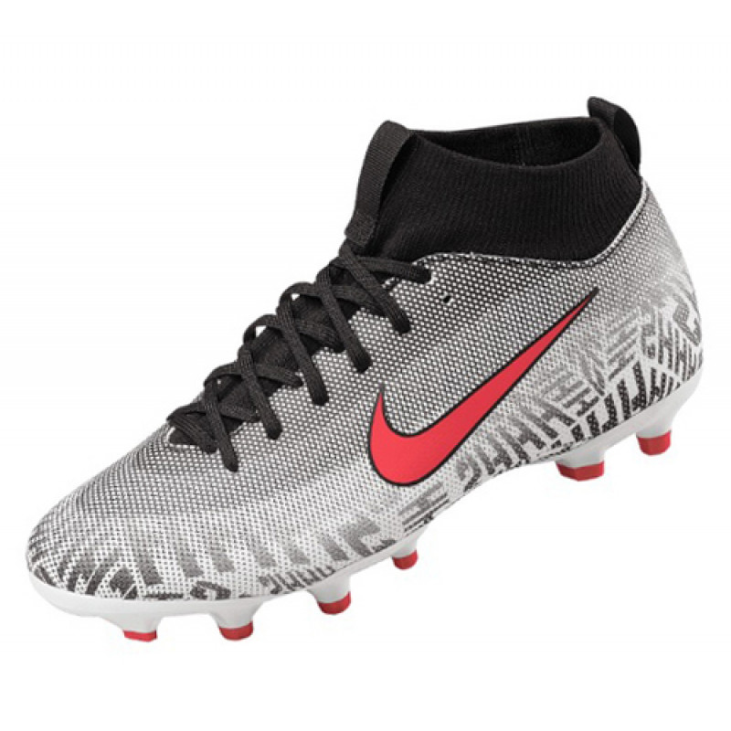 Nike Youth Superfly 6 Academy NJR FG/MG Soccer Cleats-White/Challenge Red/Black