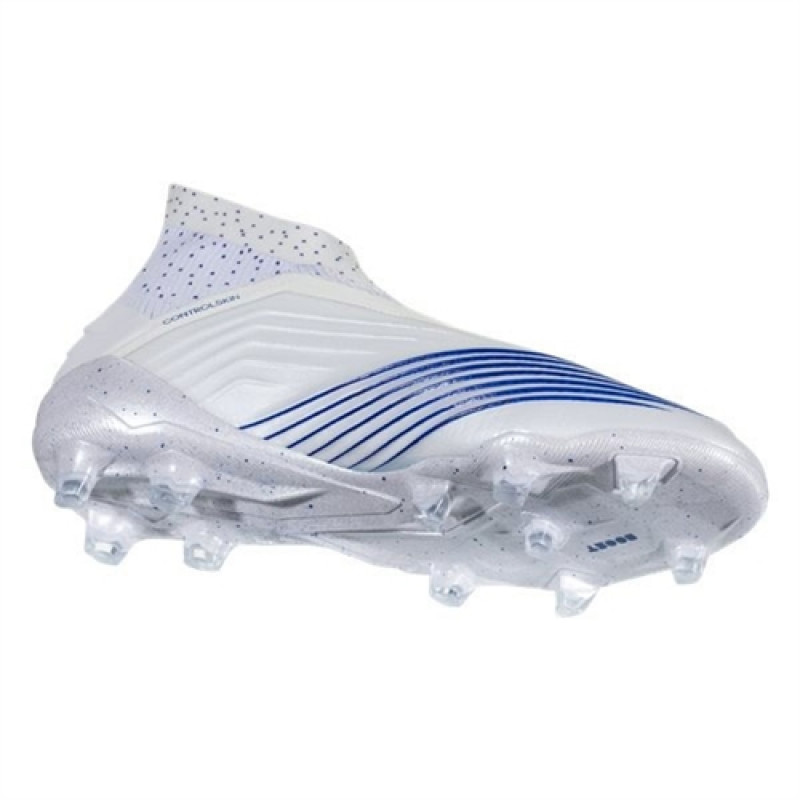 ADIDAS YOUTH PREDATOR 19+ FIRM GROUND CLEATS- WHITE / BOLD BLUE / BOLD BLUE