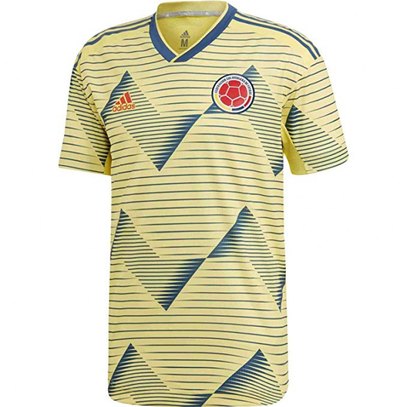 adidas Men's Colombia Home Authentic Jersey 2019-LIGHT YELLOW / NIGHT MARINE