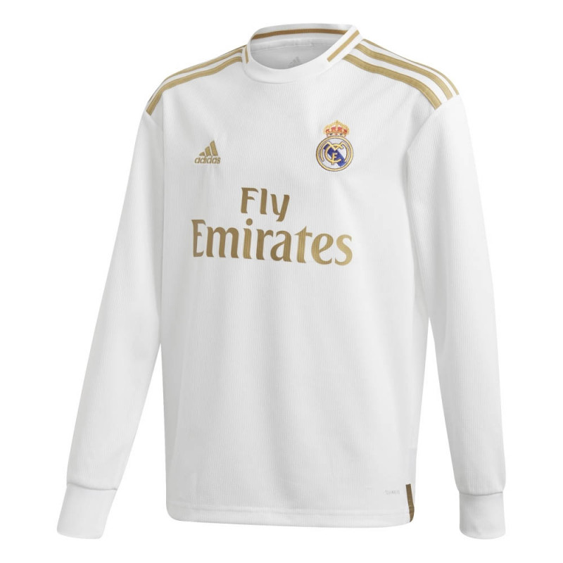 ADIDAS YOUTH REAL MADRID HOME LONG SLEEVE JERSEY 2019-20 (WHITE/GOLD)
