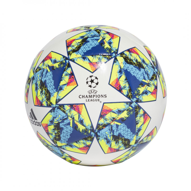 adidas UCL Finale 19 Capitano Soccer Ball- WHITE/BRIGHT CYAN/SOLAR YELLOW/SHOCK PINK