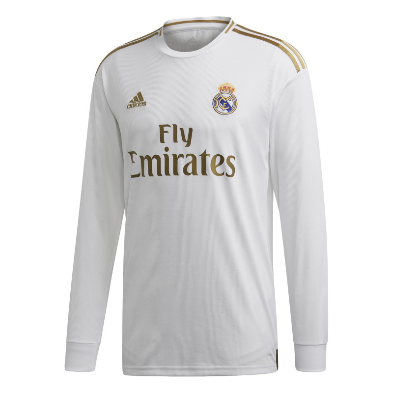 adidas  REAL MADRID MEN'S HOME LONG SLEEVE JERSEY 2019-20 (WHITE/GOLD)