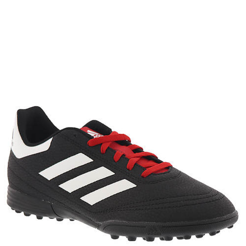 ADIDAS JUNIOR GOLETTO 6 TURF SHOES- CORE BLACK / CLOUD WHITE / SCARLET