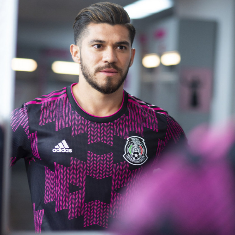 adidas MEXICO MEN'S  HOME AUTHENTIC JERSEY Black / Real Magenta