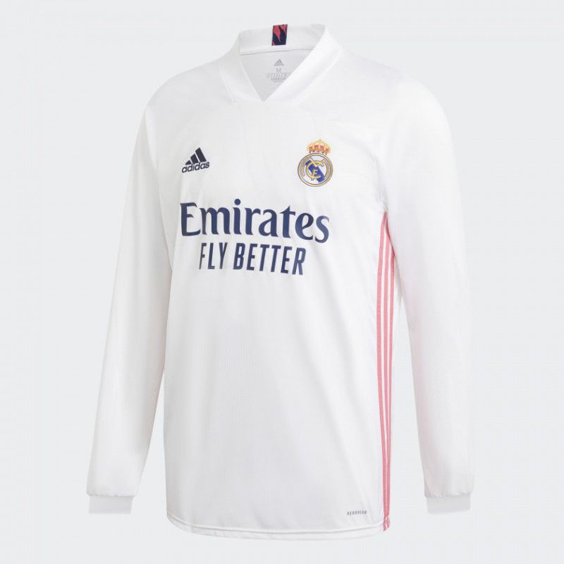 adidas REAL MADRID MEN'S HOME JERSEY LONG SLEEVE -WHITE 2020 - 2021