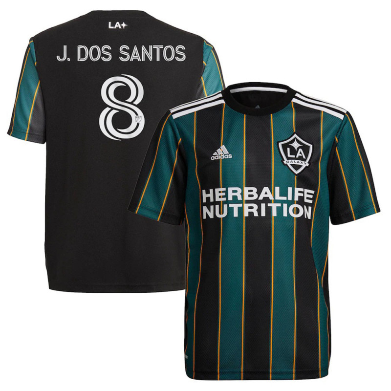 J. DOS SANTOS #8 adidas LA GALAXY AWAY YOUTH JERSEY -2021/2022