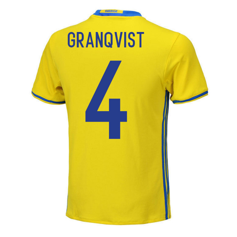 Andreas Granqvist #4 Sweden Youth Home Jersey EURO 2016
