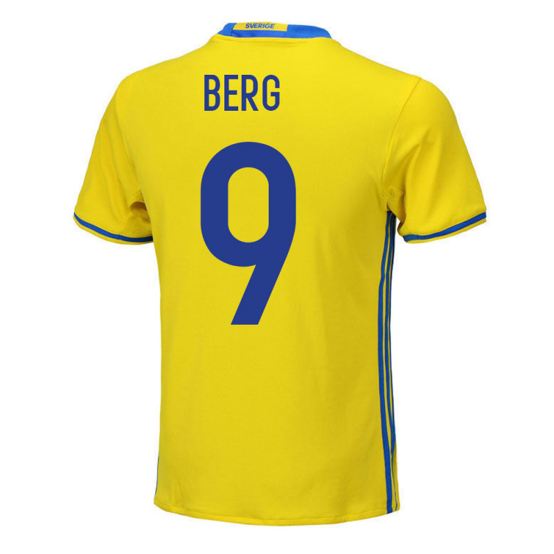Marcus Berg #9 Sweden Youth Home Jersey EURO 2016