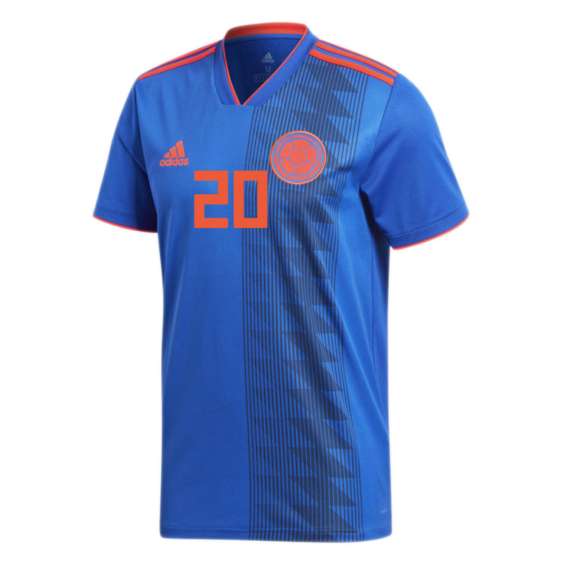 COLOMBIA OFFICIAL MEN'S AWAY SOCCER JERSEY WORLD CUP RUSSIA 2018 G. MORENO #20