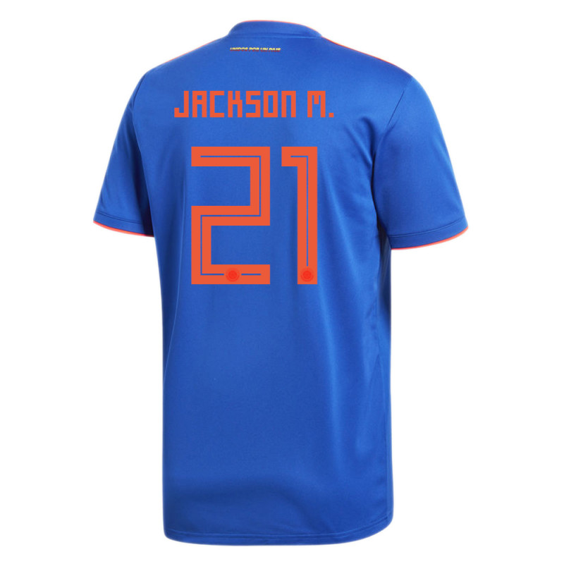COLOMBIA OFFICIAL MEN'S AWAY SOCCER JERSEY WORLD CUP RUSSIA 2018 JACKSON M. #21