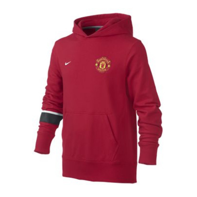 ea1452121 MANCHESTER UNITED CORE HOODY (YOUTH) DIABLO RED WHITE