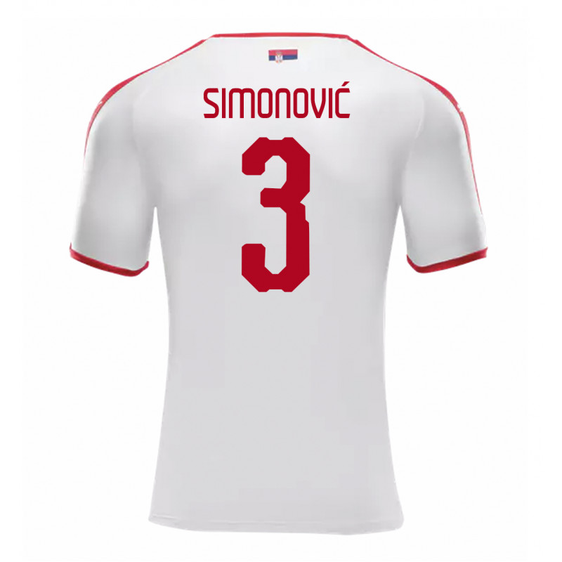 SERBIA MEN'S AWAY JERSEY WORLD CUP RUSSIA 2018 SIMONOVIC #3